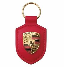 New Genuine Porsche Red Coloured Crested Leather Keyring Key Ring