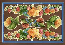 Vintage Floral Scrap Reliefs Decoupage Crafts Retro 2000 Mamelok Press Flowers