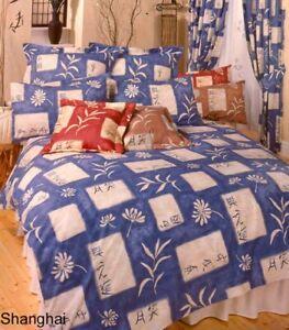 "SHANGHAI BLUE KING SIZE DUVET COVER VALANCE SHEET 66X72"" CURTAINS ORIENTAL TEXT"
