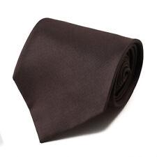 NWT $230 ISAIA NAPOLI 7-Fold Solid Chocolate Brown Micro Woven Silk Tie