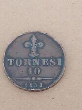 10 tornesi del 1859 Francesco II moneta conservata mai pulita