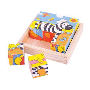 Bigjigs Toys Wooden Chunky Safari Cube Puzzle Infant Toddler Educational