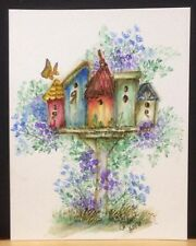 Birdhouse Village RETIRED(Ugetphoto#2)L@@K@examples ART IMPRESSIONS RUBBER STAMP