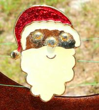 Santa Claus face gold tone red beige enamel   BROOCH