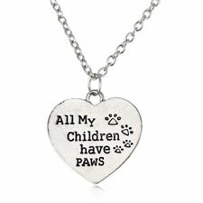 """All My Children Have Paws"" Paw Print heart pendant Necklace Pet Animal Lover"