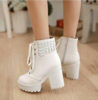 Women Punk Ankle Boots Combat Lace up Block High heel Rivet Shoes Heels