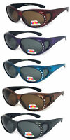 Womens Fit Over Polarized Anti Glare Rhinestones Studded Sunglasses
