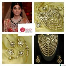 INDIAN Actress Shilpa ShettyGold & Real Kundan Bridal Choker Set, Earrings &tika