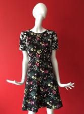 OASIS Black Ditsy Floral Print Tea Skater Short Dress Stretchy UK Size S fits 8