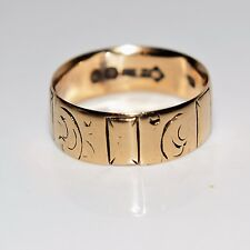 Victorian Engraved 9ct Yellow Gold Wide Wedding Band Ring Size K ~ 5 1/4