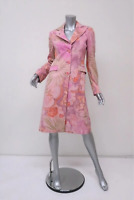 Etro Coat Pink Floral Print Raw Silk Size 40 Button Front Mid-Length Jacket
