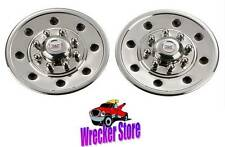 "Qty 2, 16"" WHEEL SIMULATOR, 8 LUGS, STAINLESS STEEL TRAILER WHEEL COVER, HUB CAP"