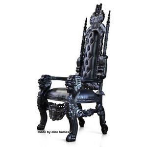UK STOCK ~ Gothic Black Lion King Throne Chair prop wedding and hotel 180cm high