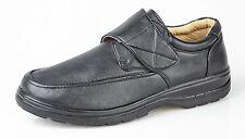 Mens Gents Black Velcro Casual Comfort Shoes Size UK 6 7 8 9 10 11 12