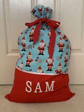 PERSONALISED NAME CHRISTMAS / SANTA SACK / PRESENT SACK -  Santa Print -