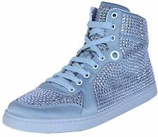 NEW Gucci Women's Coda Blue Satin Effect Crystal Stud High Top Sneakers 39.5