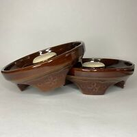 Vintage USA Pottery Planter Drip Tray Base Brown Mid Century Modern MCM