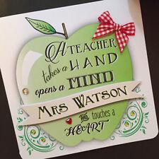 Personalised Handmade TEACHER APPLE Thankyou Card