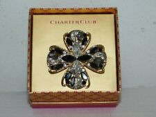 Charter Club Black & White Crystal Rhinestone Iron Cross Brooch Pin in Gift Box