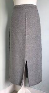 JIGSAW Grey Wool Cotton Blend Midi Knitted Pencil Skirt L UK 14 Soft Worn Once