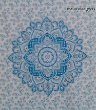 Cotton Tapestry Wall Hanging Poster 40*30 Ethnic Hippy Throw Blue Ombre Mandala