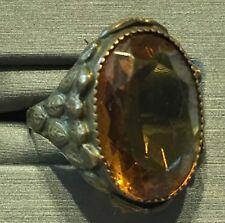 """Vtg Czech Egyptian Revival Topaz Glass Lotus Leaf Brass Ring 5.5""""-Estate"""