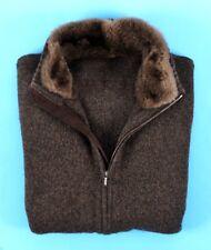 $3650 - LORO PIANA 100% CASHMERE / BEAVER FUR Bomber Sweater Jacket 58 2XL 3XL