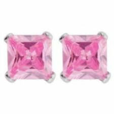 Pink Sapphire Princess Stud Earrings ~ Solid Sterling Silver ~ Gift box