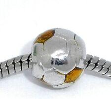 """""""Gold Enamel Soccer Ball"""" Charm for Snake Chain Charm Bracelets"""
