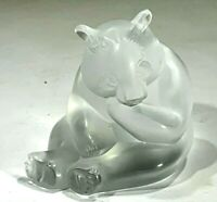 Adorable Lalique Crystal Glass Frosted Crystal Panda Bear Figurine