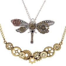 2Pcs Steampunk Dragonfly Gear Pendant Biker Gothic Necklace Mechanical Chain