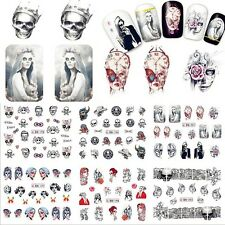 Nail Art Stickers Decals Transfers Gothic Skulls Collection