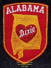 LMH PATCH Badge  ALABAMA State Shape  HEART OF DIXIE Slogan Nickname AL  Red