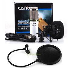 Professional Condenser Microphone White Mic Studio Sound Recording w Mount