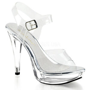 """5"""" Clear Platform Fitness Competition Heel Bikini Contest Shoes Pleaser Cocktail"""