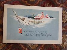 Vintage Postcard Christmas Greetings And A Happy New Year, Winter House, Birds