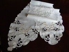 "Table Runner WHITE 68""X12"" CHRISTMAS DECOR Wedding Table Scarf Bells & Rings"