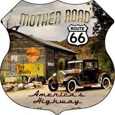 """Route 66 Mother Road 11"""" Highway Shield Metal Sign Novelty Retro Home Wall Decor"""