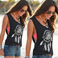 Womens Summer Vest Tank Top Boho Tee Casual Beach Sleeveless Shirt Loose Blouse