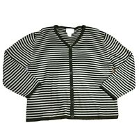 Christopher & Banks Women's Size XL Striped Button Down Cardigan Sweater