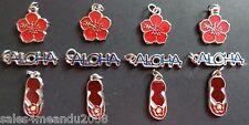 12 Enamel Aloha Hibiscus Petals Sandals Summer Fun Charms Jewelry DIY AH12
