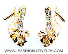 Gold Tone Lady High Heel Shoes Stud Earrings Pearl Bling Crystal Fashion Jewelry