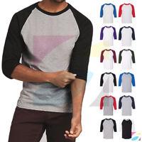 Men's Raglan 3/4 Sleeve Baseball Plain Tee Jersey Heavy Cotton T-Shirt 5700