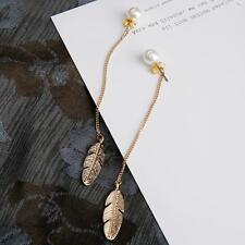 Pearls Long Tassel Leaf Feather Drop Dangle Earrings For Women Earrings Jewelry