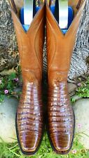 "LUCCHESE CLASSICS RARE ""BELLY CUT"" ALLIGATOR CROCODILE EXOTIC WESTERN BOOTS 11 D"