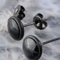 Fashion Black Round Stainless Steel Mens Womens Ear Studs Earrings Jewelry Hot