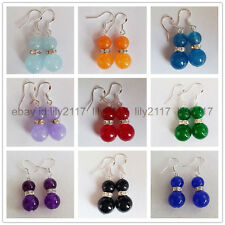 Wholesale 9 pair 8mm &12mm natural Multicolor jade Beads Silver Dangle Earrings