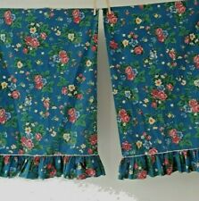 PAIR Vintage Martex Blue Floral Ruffle Pillowcases Standard Size Excellent