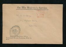 GB 1920 OFFICIAL PAID MACHINE SOMERSET HOUSE REGISTER OFFICE CROWN OVAL HS OHMS