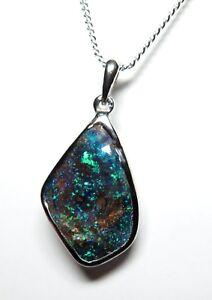 Australian Boulder Opal Hand Made Silver Pendant